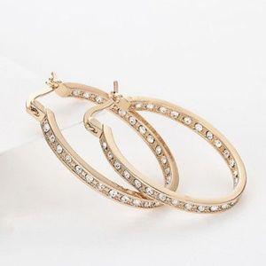 Gold plated Crystal oval hoop earrings